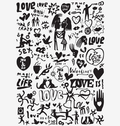 love valentines day doodles set vector image vector image