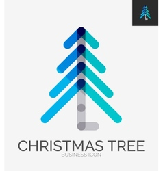 Minimal line design logo Christmas tree icon vector image