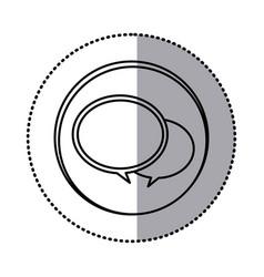 Monochrome contour with circle sticker of speech vector