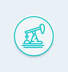 Oil pump derrick line icon vector