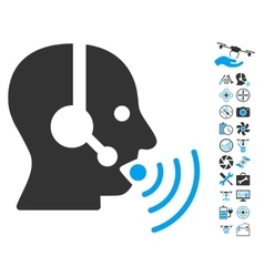 Operator talking sound waves icon with air drone vector