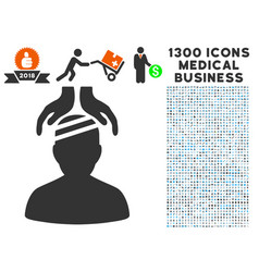 Psychiatry patient cure hands icon with 1300 vector
