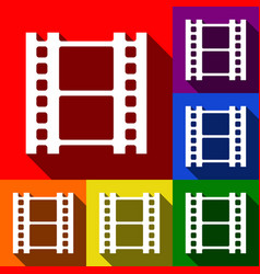 Reel of film sign set of icons with flat vector