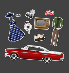 Retro stikers set of vintage objects vector