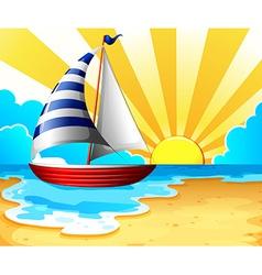 Sail and beach vector image vector image