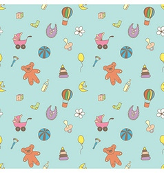 Seamless pattern for fabric with children toys vector