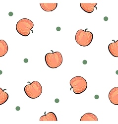 Seamless red apple pattern on white background vector image