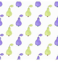 Seamless watercolor pattern with pears on the vector image