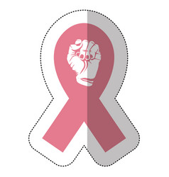 Symbol hand breast cancer defense ribbon vector