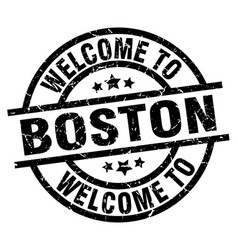 Welcome to boston black stamp vector