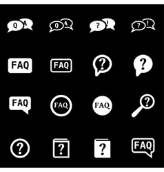 white faq icon set vector image