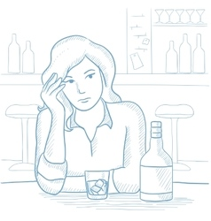 Woman drinking alcoholic drink at the bar vector