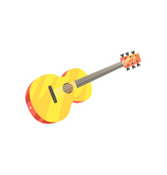wooden classic guitar musical instrument cartoon vector image