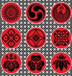 Japan ornament elements vector