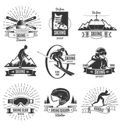 Skiing Vintage Labels Set vector image