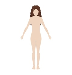 Silhouette woman body with wavy hair vector
