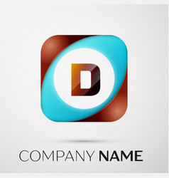 letter d logo symbol in the colorful square on vector image