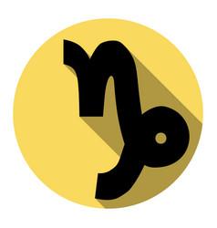 Capricorn sign   flat black vector