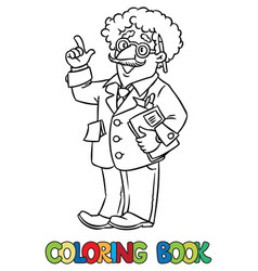 Coloring book of funny scientist or inventor vector
