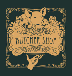 Poster for the butcher shop with a piglet on tray vector