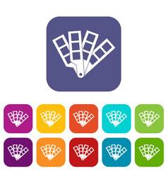 Color palette guide icons set vector