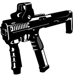 Machine gun with barbed wire and ribbon vector