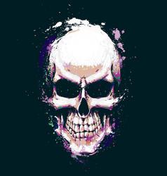 Skull artistic splatter purple n green vector