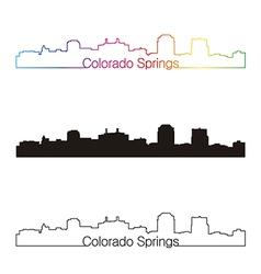 Colorado springs skyline linear style with rainbow vector