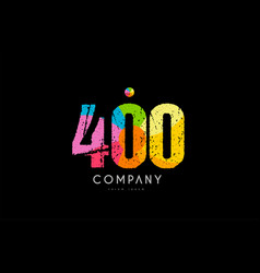 400 number grunge color rainbow numeral digit logo vector