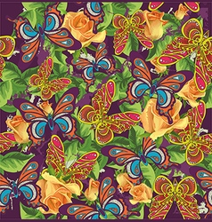 beautiful pattern with butterflies and roses vector image