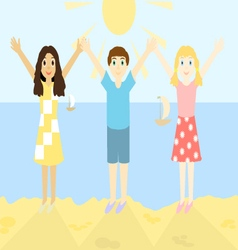 Happy children on the beach vector