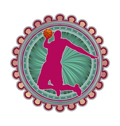 Sport emblem basketball vector