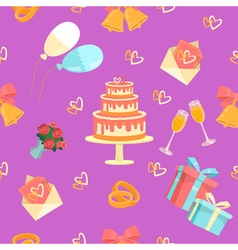 Wedding seamless pattern with rings cake and bells vector