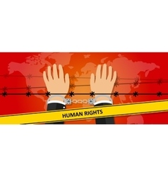 Human rights freedom hands under wire vector