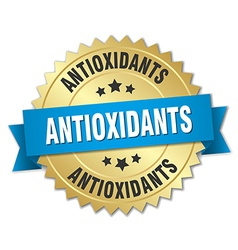 Antioxidants 3d gold badge with blue ribbon vector