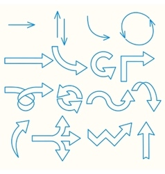 Arrows painted blue line vector
