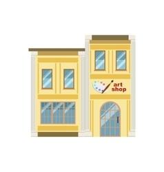 Art shop commercial building facade design vector