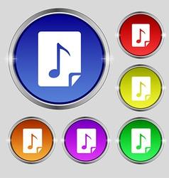 Audio MP3 file icon sign Round symbol on bright vector image