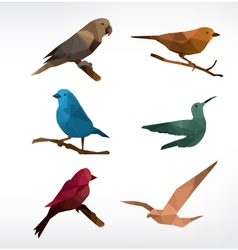 Birds icon set low-poly style vector image