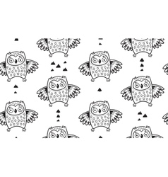 Black and white seamless pattern with owls vector