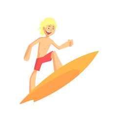Blond cheerful kid drive on surfboard on the wave vector
