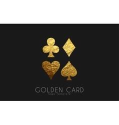 Casino logo Card logo Golden card symbols vector image