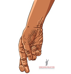 Cheater hand with crossed fingers African vector image vector image