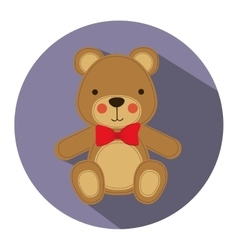 Color silhouette with teddy bear in round frame vector
