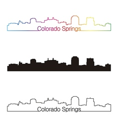 Colorado Springs skyline linear style with rainbow vector image vector image