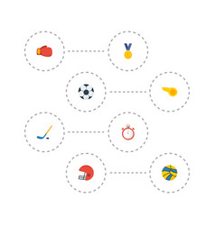 flat icons puck rugby ball and other vector image vector image