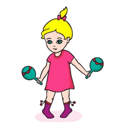 girl with maracas vector image vector image