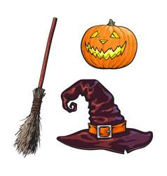 Hand drawn halloween symbols - pumpking lantern vector
