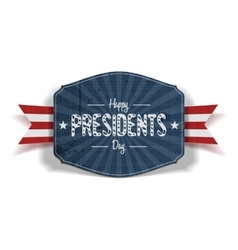 Happy presidents day blue striped label vector