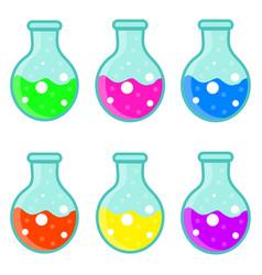Laboratory bulb set icon flat cartoon style vector